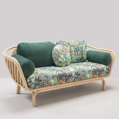 Upholstered 2 seater rattan sofa with removable cover BÔA JUNGLE By Orchid Edition design At-Once Bamboo Sofa, Rattan Sofa, Rattan Furniture, Sofa Chair, Sofa Set, Couch, Cane Furniture, Arm Chairs, Chair Cushions