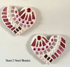 Set of 2 PINK Petite Magnetic Mosaic Hearts by Heart2HeartMosaics, $15.00