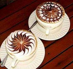 Coffee and latte art - beautiful stars
