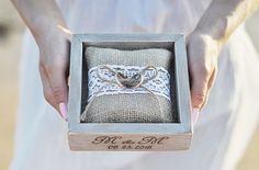 Wedding Ring Box Personalized Wood Ring Box Alternative Ring Holder Burlap Pillow Rustic Ring Bearer Pillow Lace Custom Engraved Ring Box by InesesWeddingGallery on Etsy #ringpillow #rusticwedding