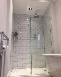 Rachel's Victorian bathroom features light walls, wood flooring, a walk-in shower enclosure and a beautiful freestanding bath. Wood Bathroom, Downstairs Bathroom, Small Bathroom, Bathroom Lighting, Bathroom Ideas, Bathroom Showers, Modern Bathroom, Walk In Shower Enclosures, Victorian Bathroom