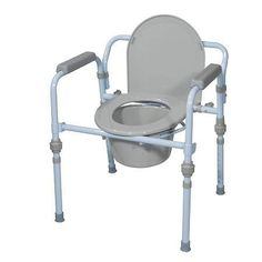 Drive Medical Folding Bedside Commode Seat with Bucket & Splash Guard - 1 ea