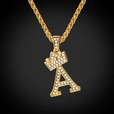 Iced Out Crown Letter A Pendant Necklace Initial Capital Jewelry – Jewelry Alphabet Necklace, Letter Pendant Necklace, Letter Pendants, Initial Necklace Gold, Mens Gold Chain Necklace, Men Necklace, Cute Jewelry, Gold Jewelry, Luxury Jewelry