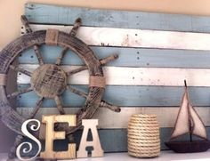 Ooh Kristen – more ideas for your front porch though I think we did something exactly like this already. Coastal, Beach + Nautical Decor + Interiors, Driftwood + Shell Decor, Crafts, Art + more: DIY Wood Pallet Decor Ideas Nautical Bedroom, Nautical Bathrooms, Nautical Home, Vintage Nautical, Sea Theme Bathroom, Anchor Bathroom, Seaside Bathroom, Camper Bathroom, Mermaid Bathroom