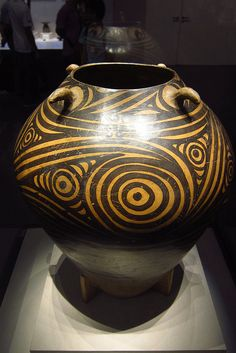 Painted Pottery Jar With Spiral Design - Majiayao Culture (3200-2000 BC) by byrnzie28, via Flickr