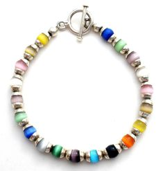 """Sterling Silver Bead Bracelet with Multi Color Glass Cats Eye Beads 8"""" Long 