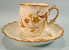 Delicate Limoges Demi Cup and Saucer Raised Gold