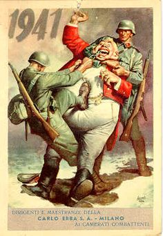 """Postcard, language is Italian. Clearly WWII (1941) but I can't work it out. I assume the caricature in the middle is supposed to be """"England"""", but they're a bit off - it looks like George IV (lol) not George VI!"""
