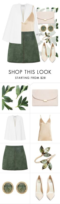 """""""Green Suede Skirt"""" by boho-at-heart ❤ liked on Polyvore featuring Mansur Gavriel, Amanda Wakeley, Raey, George J. Love, Carousel Jewels and Francesco Russo"""