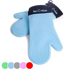 Silicone Oven Mitts - 1 Pair Of Professional Heat Resistant Potholder Gloves - Oven Mitt Set Of 2 - Blue, 2015 Amazon Top Rated Potholders & Oven Mitts #Kitchen