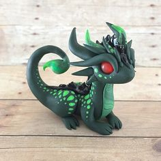 Handmade from high quality polymer clay, stamped with the artist's mark on the bottom, about 2 inches tall Polymer Clay Dragon, Sculpey Clay, Cute Polymer Clay, Cute Clay, Polymer Clay Creations, Polymer Clay Crafts, Dinosaur Drawing, Dinosaur Art, Dragon Comic