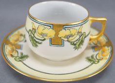 Gebruder Benedikt Hand Painted Signed Art Deco Yellow Poppies Tea Cup C. 1920