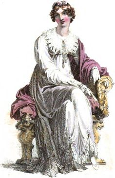 1816  Opera Dress of White Lace. From: 1816 July Repository of Arts by RudolphAckermann
