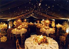 Twinkly lights, canvas tent.