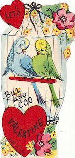Vintage Valentine birds in cage
