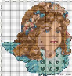 Hobby lavori femminili - ricamo - uncinetto - maglia: schema punto croce angelo