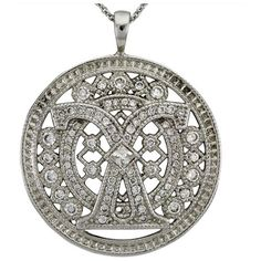 Vintage Diamond Pendant Milgrain Design Set With A 0.14ct Princess Cut Diamond And 0.96cts Of diamonds by Dacarli Jewelry, Rakuten.com