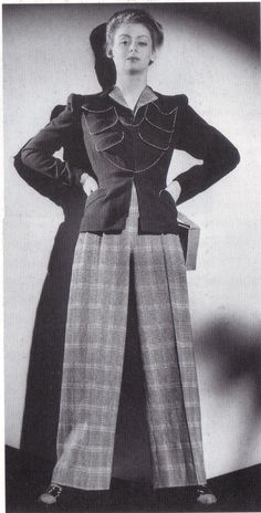 1938 - Jacques Heim ensemble 1938 Fashion, Classic Fashion, European Fashion, Art Deco Fashion, Vintage Fashion, Women's Fashion, Teddy Girl, Teddy Boys, Vintage Pants