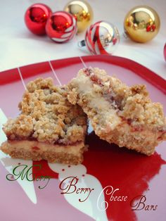 Merry Berry Cheese Bars--oats, cranberry, cream cheese--yummmm (just had these at a cookie exchange)