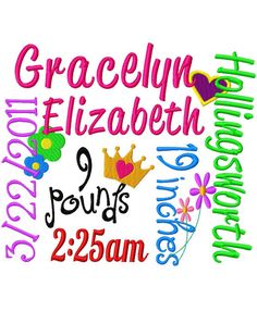Birth Announcement  Girl 1  Machine Embroidery by jmeleigh923, $6.00