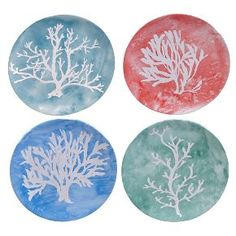 "Certified International Water Coral Set of 4 Dessert Plate 9"" Assorted"