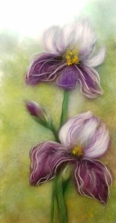 VK is the largest European social network with more than 100 million active users. Felted Wool Crafts, Felt Crafts, Felt Flowers, Fabric Flowers, Iris Painting, Felt Pictures, Needle Felting Tutorials, Wool Art, Landscape Quilts