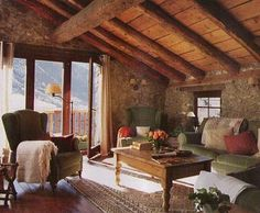 log beam ceiling - rustic charm