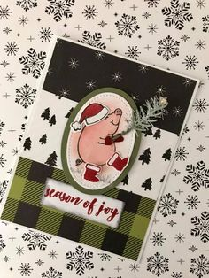 Stampin Up - This Little Piggy . Christmas Card Display, Christmas Cards To Make, Noel Christmas, Holiday Cards, This Little Piggy, Little Pigs, Stamping Up Cards, Winter Cards, Paper Cards