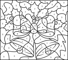 christmas bells printable color by number page hard - Free Printable Christmas Color By Number Coloring Pages