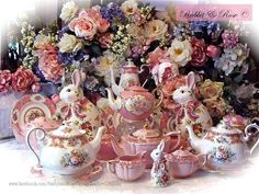 Lovely Rabbit and Rose Tea Set. Vintage China, Vintage Tea, Vintage Decor, Vintage Style, Victorian Tea Party, Royal Tea, Pink Depression Glass, Tea Service, China Painting
