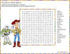 Disney Cars Birthday Party Ideas Games Toy Story New Ideas Disney Word Search, Kids Word Search, Word Search Puzzles, Word Puzzles, Toy Story Game, Toy Story Party, Disney Cars Birthday, Cars Birthday Parties, Birthday Games