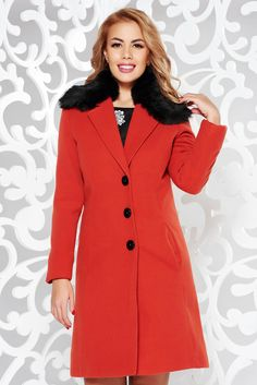StarShinerS bricky coat elegant arched cut from wool with inside lining fur collar, with pockets, inside lining, arched cut, detachable collar, fur collar, wool, long sleeves, thick fabric, with buttons, non elastic fabric