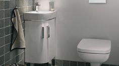 Salle de bain WC petits espaces angle lave-main gris