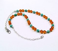 Baltic Amber & Turquoise Sterling Silver Necklace by TheSilverBear, $85.00
