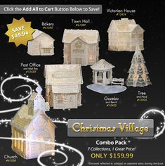Christmas Village - Machine embroidery Free Standing Lace.