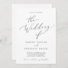 Delicate Dark Gray Calligraphy All In One Front and Back Wedding Invite. Click to customize with your personalized details today. Wedding Invitation Size, Classic Wedding Invitations, Wedding Invitation Templates, Wedding Stationery, Shower Invitation, Invite, Summer Calligraphy, Wedding Calligraphy, Gold Calligraphy