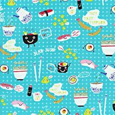 Yummy Sushi Fun Kidz Aqua Blue Cotton Fabric by TreasureBayFabric, $8.99