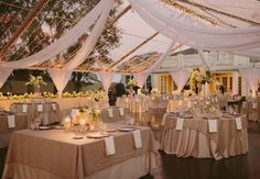 A clear top tent laced with twinkle lights creates the perfect look for a backyard wedding
