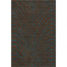 Momeni Deco Zebra Teal Blue Contemporary Rug - DECOODC-16TEB