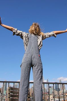 Vintage-inspired and forever timeless, these effortless overalls are perfect as a layering piece or to stand out solo featured in a cool and classic silhouette. Work Overalls, Logger Boots, Outfit Combinations, Denim Fashion, Jeans Style, Leotards, Vintage Inspired, Autumn Fashion, Casual