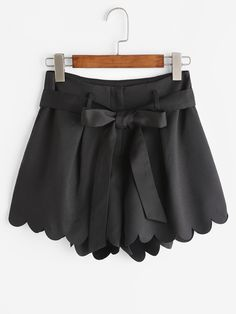 Shop Scallop Edge Tie Waist Shorts online. SheIn offers Scallop Edge Tie Waist Shorts & more to fit your fashionable needs.
