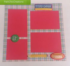 Third Grade Premade Page, 12 x 12, Grade School, Elementary School, First Last Day of School (school page layout ideas #scrapbooking