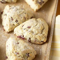 Easter Brunch Recipe - Cranberry Scones: These crumbly pastry wedges are always a crowd-pleaser at breakfast or brunch; for a different flavor, you can substitute snipped dried cherries, dried currants, or dried raisins.