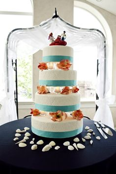 Little Mermaid wedding cake - my bro made for his own wedding! So awesome!