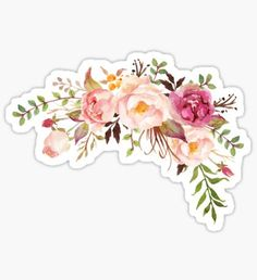 'Romantic Watercolor Flower Bouquet' Sticker by junkydotcom - Car Tumblr Stickers, Diy Stickers, Printable Stickers, Laptop Stickers, Planner Stickers, Watercolor Stickers, 3d Prints, Aesthetic Stickers, Tropical Flowers