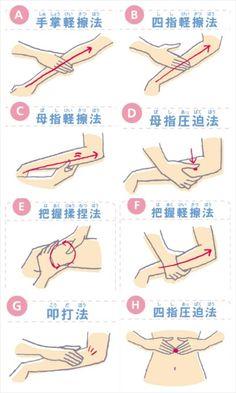 リンパマッサージの基本手技 http://www.selfdoctor.net/nurse/2010_09/index.html