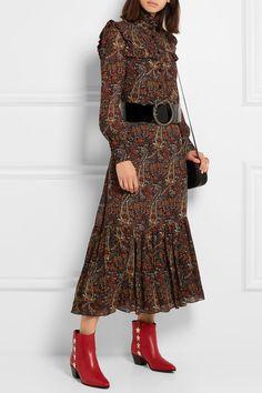 Saint Laurent | Ruffled paisley-print crepe midi dress | NET-A-PORTER.COM