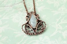 Moonstone pendant -wire wrap pendant - wire wrapped jewelry on Etsy, $54.00
