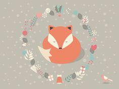Christmas baby fox 01 Art Print by BlueLela | Society6