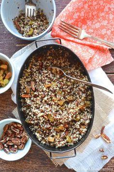 Tri-Color Quinoa with Golden Raisins & Pecans